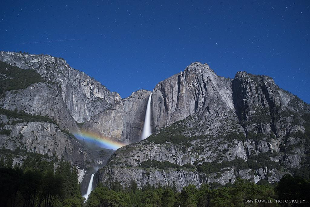 "Today's Photo Of The Day is ""Moonbow and Stars at Yosemite Falls"" by Tony Rowell. Location: Yosemite National Park, California."
