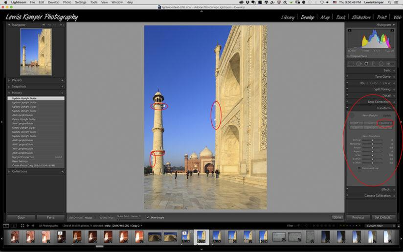 Adaptive Wide Angle filter vs. Lightroom's Upright