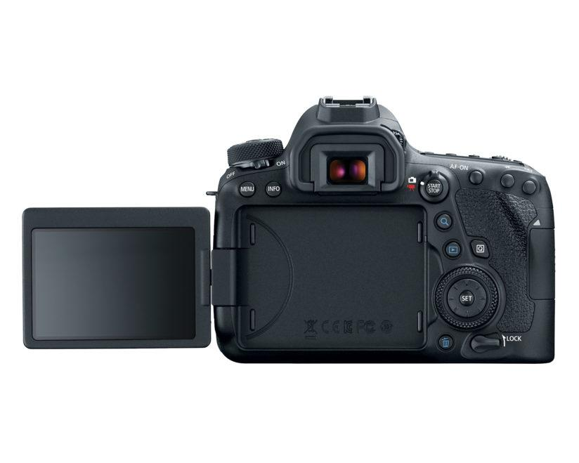 The Canon EOS 6D Mark II has a Vari-angle LCD that tilts and swings
