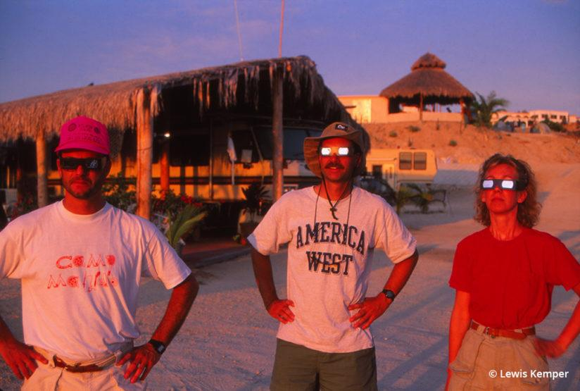 Wearing eclipse glasses at the solar eclipse in 1991