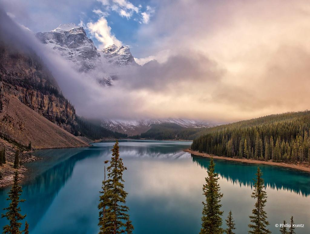 """Today's Photo Of The Day is """"Misty Moraine Morning"""" by Philip Kuntz. Location: Banff National Park, Alberta, Canada."""