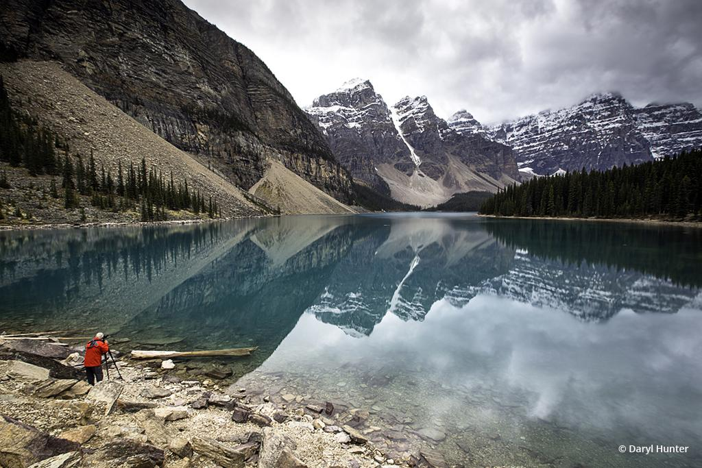 "Today's Photo Of The Day is ""Photographer, Moraine Lake"" by Daryl Hunter. Location: Banff National Park, Alberta, Canada."