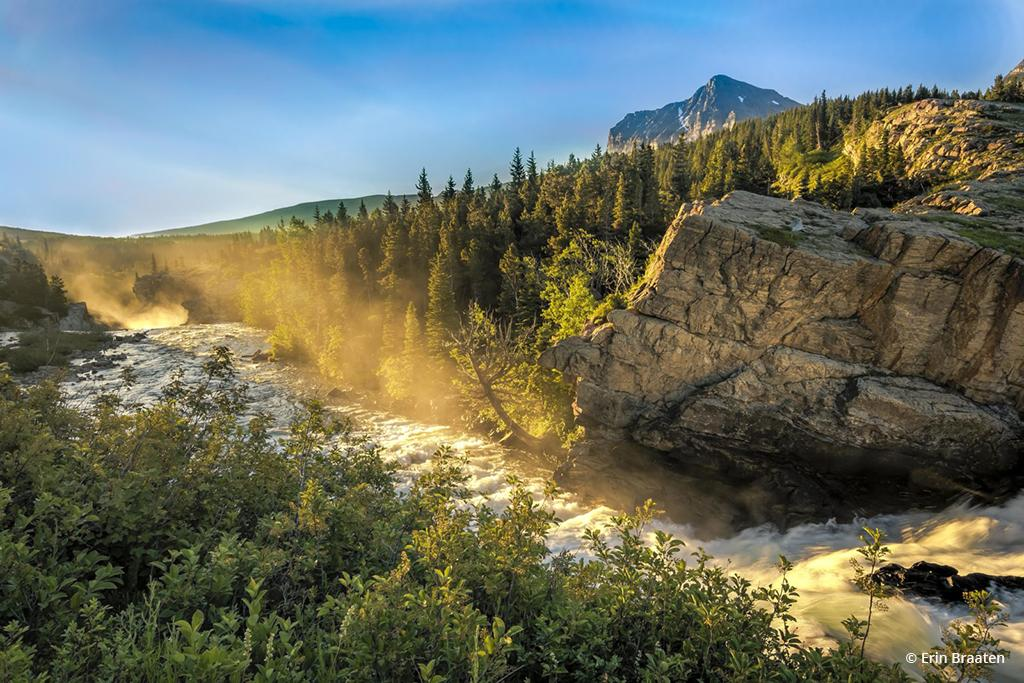 """Today's Photo Of The Day is """"Morning at Swiftcurrent Falls"""" by Erin Braaten. Location: Glacier National Park, Montana."""