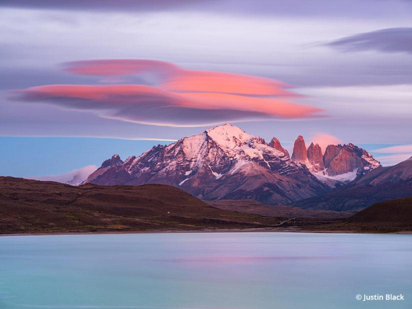 Lenticular clouds catching alpenglow and moonlight over the Paine Massif, Fujifilm GFX 50S