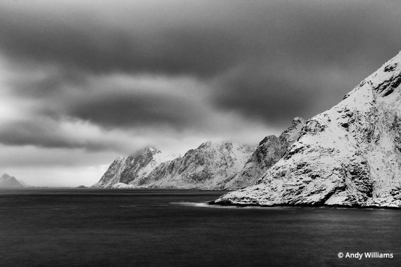 shooting for black and white, Coastal view from the village of Å, Lofoten Islands, Norway, after conversion.