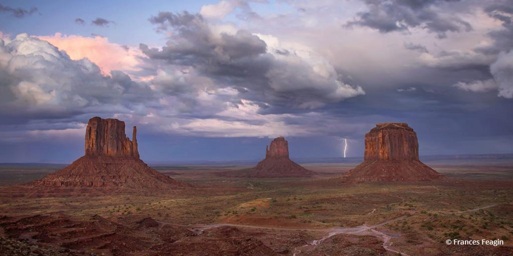 """Today's Photo Of The Day is """"Lightning At The Mittens"""" by Frances Feagin. Location: Monument Valley, Arizona."""