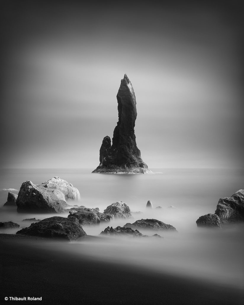 Black and white long exposures black sand beach iceland