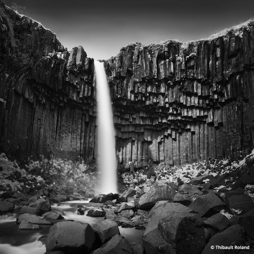 Black-and-White Long Exposures, Svartifoss waterfall, Iceland