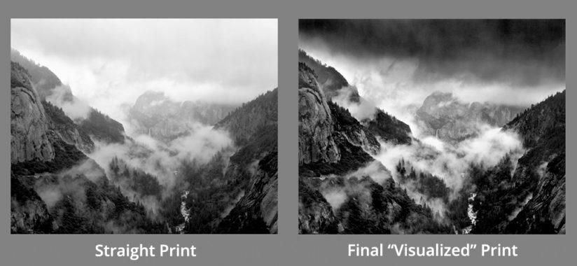 "A straight print of the original negative (left) versus the final ""visualized"" print (right) after increasing contrast and darkening the sky."