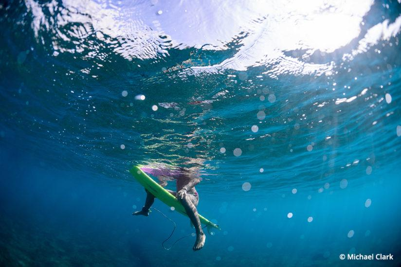 Surf photography from below the water with a waterproof housing