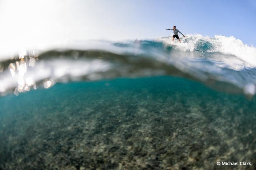 Surf photography, shooting from the water with a waterproof housing