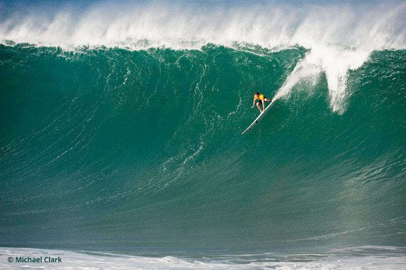Surf photography, Mark Healey drops in on a big wave