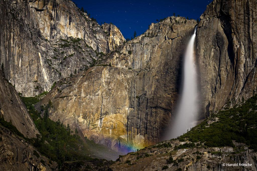 "Today's Photo Of The Day is ""Moonbow at Yosemite Falls"" by Harold Fritsche. Location: Yosemite National Park, California."