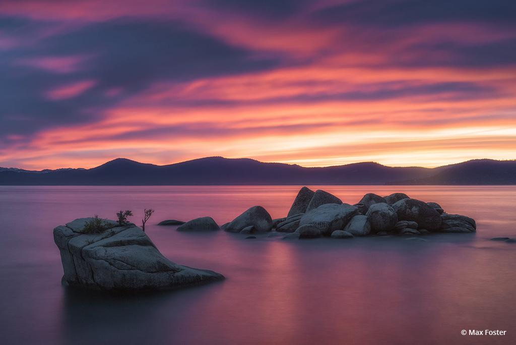 "Today's Photo Of The Day is ""Bonsai Rock Blaze"" by Max Foster. Location:   Lake Tahoe, California."