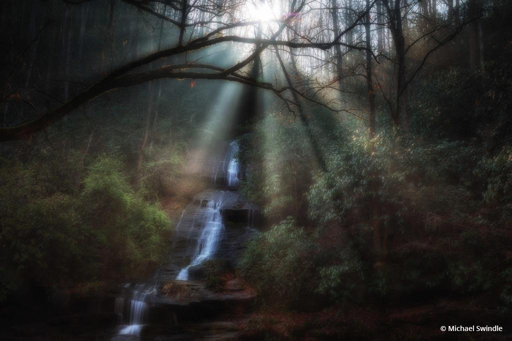 "Today's Photo Of The Day is ""Sun shining on Waterfall"" by Michael Swindle. Location: Great Smoky Mountains National Park, North Carolina."