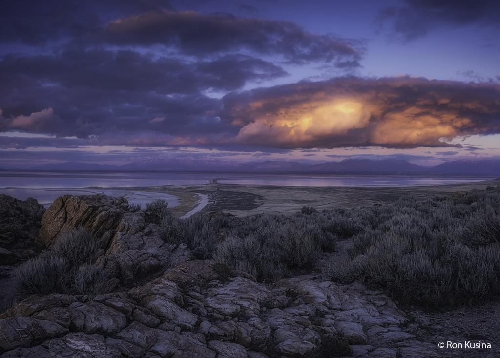 "Today's Photo Of The Day is ""Blue Hour Bright"" by Ron Kusina. Location: Buffalo Point, Antelope Island State Park, Utah."