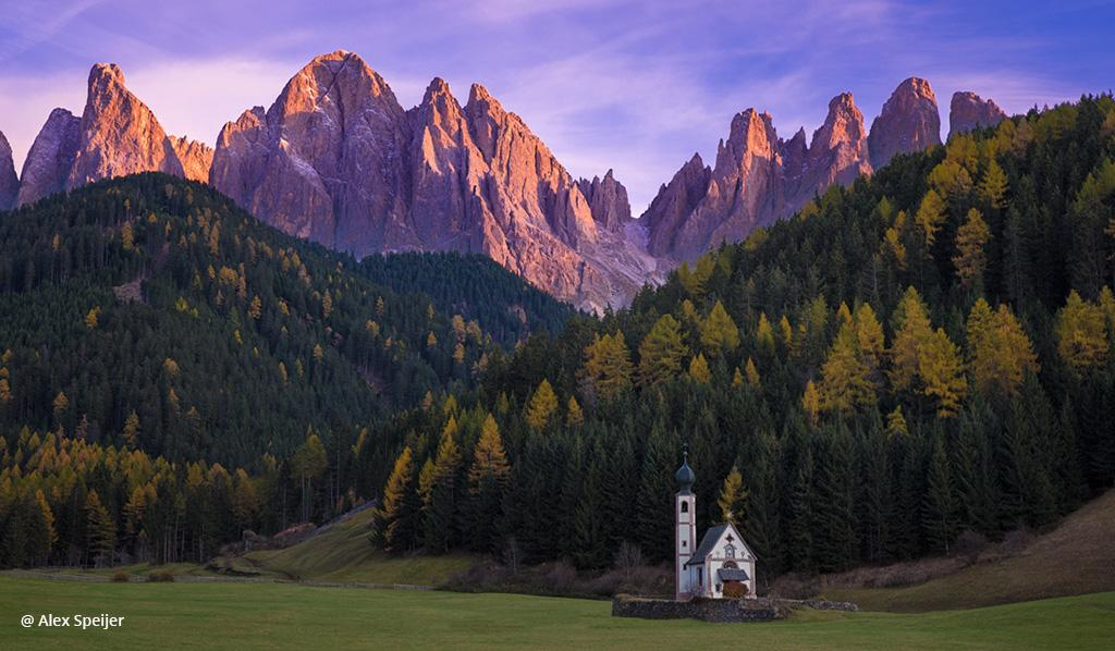 "Today's Photo Of The Day is ""That little white church"" by Alex Speijer. Location: Val di Funes, Italy."